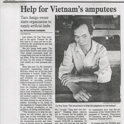 The Connection: July 1991 Edition: Help for Vietnam's Amputees