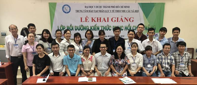 Figure 7: Rehab therapists trained by the HCMC University of Medicine and Pharmacy and VNAH