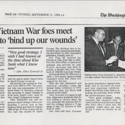The Washington Times: September 1994 Edition: Retired Vietnam foes meet in Hanoi to 'bind up our wounds'
